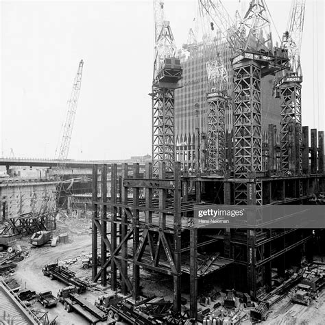 Construction Of Twin Towers World Trade Center Stock Photo ...