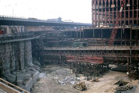 Construction view of the original World Trade Center with ...