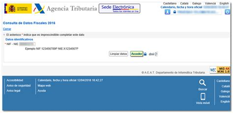 Consulta de datos fiscales 2016   Agencia Tributaria
