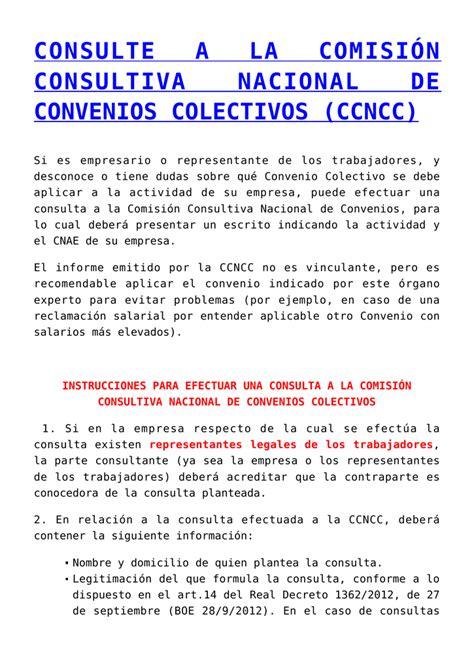 consulte a la comisión consultiva nacional de convenios ...