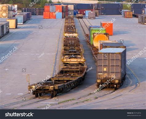 Containers Loaded On Rail Track For Departure Stock Photo ...
