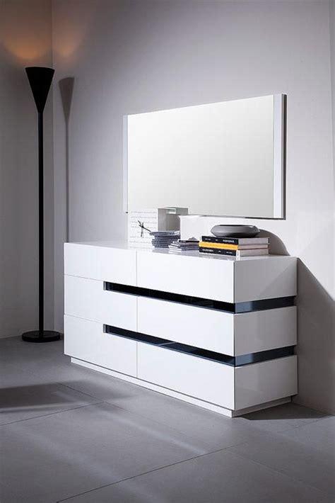 Contemporary White Glossy Dresser with Black Stripes Shop ...