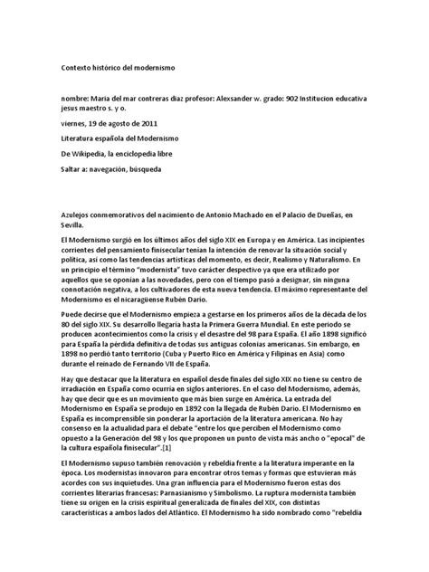 Contexto Histórico Del Modernismo | Artes  General ...