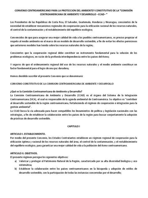 CONVENIO CENTROAMERICANO PARA LA PROTECCIÓN DEL AMBIENTE ...