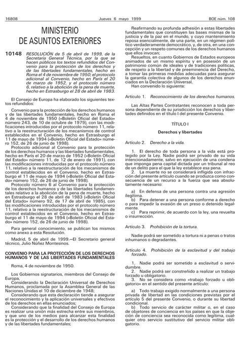 Convenio Europeo de Derechos Humanos 1950 – Trastornos ...