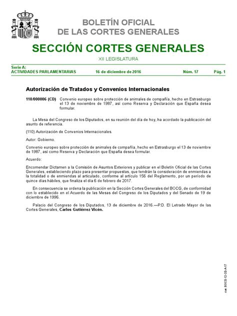 Convenio Europeo Protección Animales de Compañía | Cortes ...