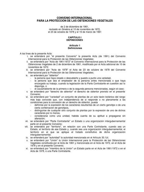 CONVENIO INTERNACIONAL PARA LA PROTECCIÓN DE LAS ...