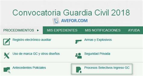 Convocatoria Guardia Civil 2018   AVEFOR