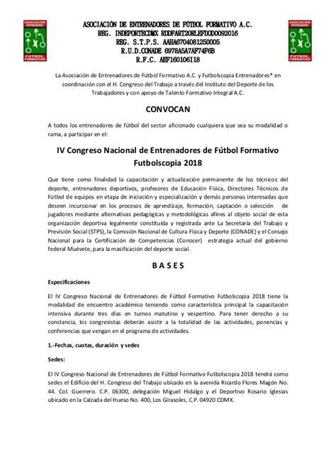 Convocatoria oficial congreso de futbol formativo ...