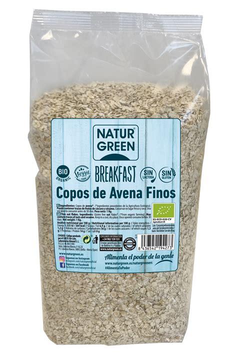 Copos de avena finos Sin gluten Bio Naturgreen 1Kg. en Biosano