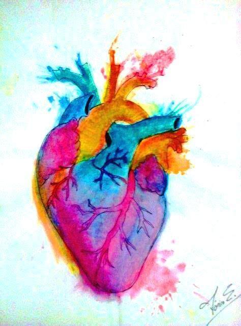 Corazón acuarela   Corazón en acuarela, Dibujos, Pinturas
