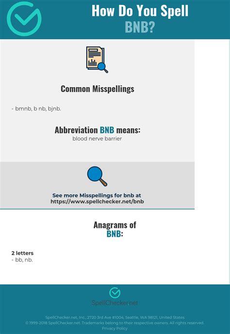 Correct spelling for BNB [Infographic] | Spellchecker.net