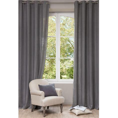 Cortina con ojales de lino lavado gris 130 x 300 cm ...