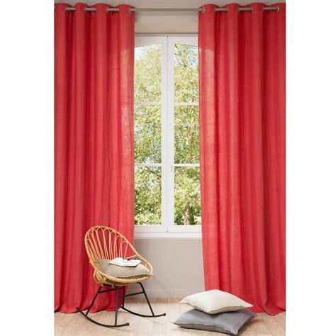 Cortina con ojales de lino lavado rojo 140 x 300 cm ...