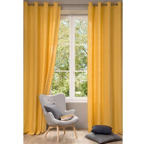 Cortina de lino lavado amarillo 130 x 300 cm | Maisons du ...