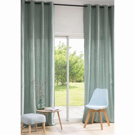 Cortina de ojales de lino lavado verde grisáceo 130x300 ...