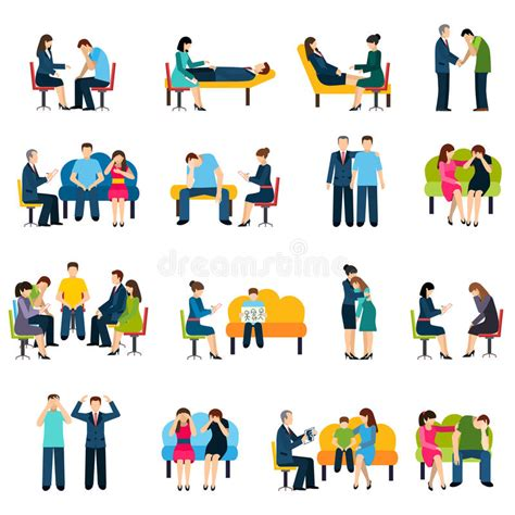 Counseling Support Group Flat Icons Set Stock Vector ...