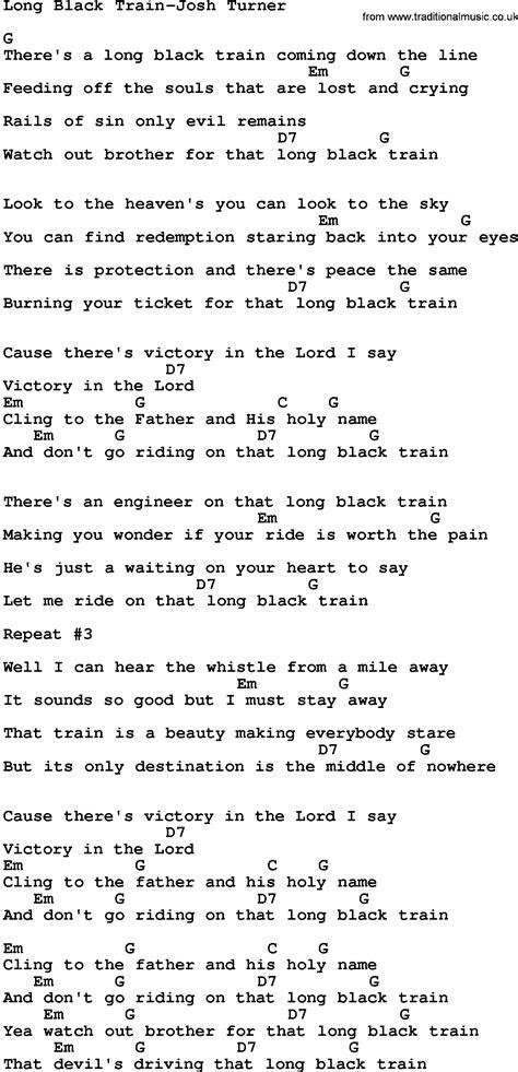 Country Music:Long Black Train Josh Turner Lyrics and Chords