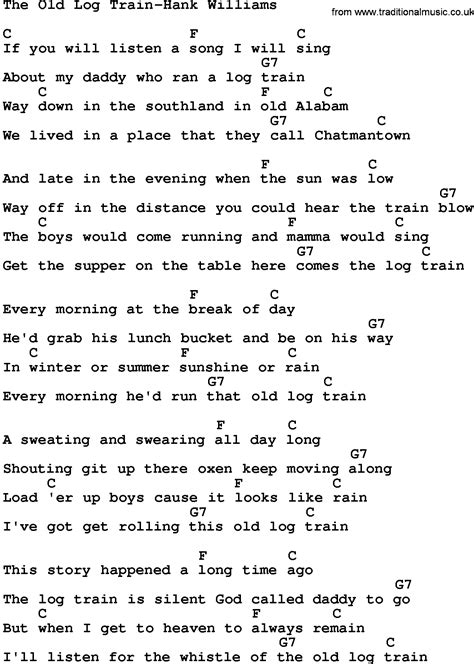 Country Music:The Old Log Train Hank Williams Lyrics and ...
