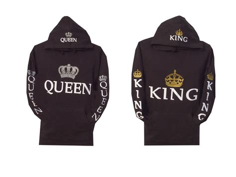 Couple Matching King and Queen Hoodie Color Black Hooded ...