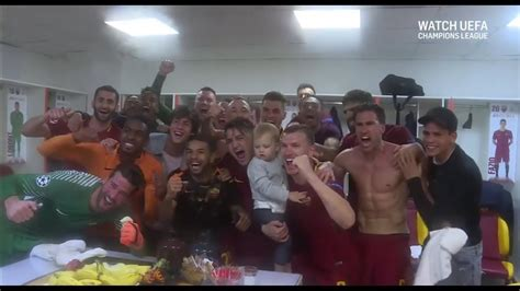 Crazy dressing room scenes after Roma beat Barcelona in ...