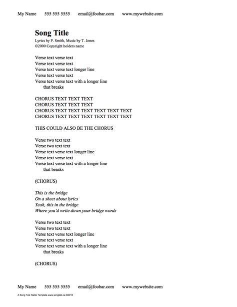 Creating Lyric Sheets that Don t Suck   Song Talk Radio