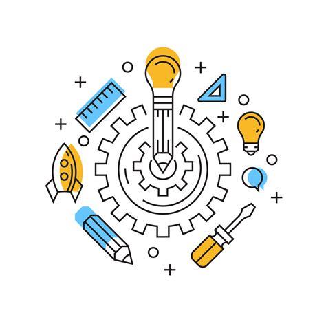 Creative Illustration. Innovation Flat Line Design with ...