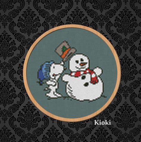 Cross stitch pattern Snoopy & Snowman PDF Counted Cross ...