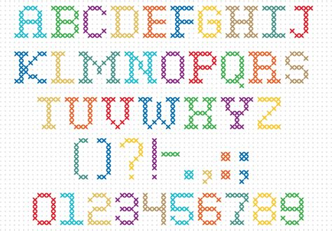 Cross Stitch Vector Font   Download Free Vectors, Clipart ...