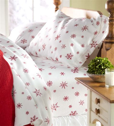 Crystal Snowflake Cotton Flannel Sheet Set Queen Size ...