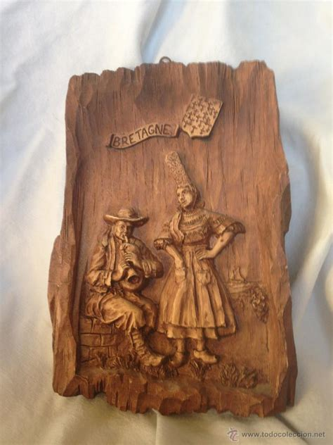 cuadro en madera tallado a mano sello autentici   Comprar ...