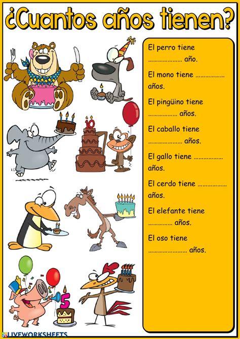 ¿Cuántos años tienen?   Escribir   Interactive worksheet