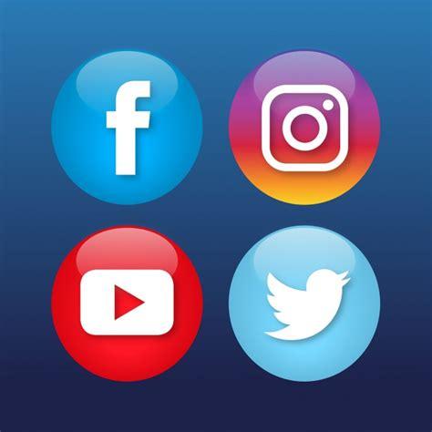 Cuatro iconos de redes sociales   Descargar Vectores gratis
