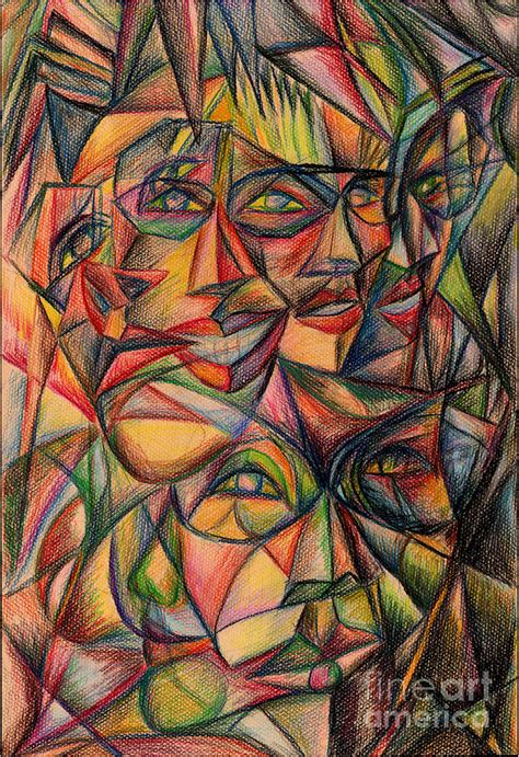 Cubism Faces Painting by Kirohan Art