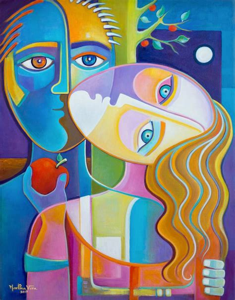 Cubism Modern Art Adam and Eve Oil Painting Painting by ...