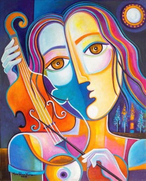 Cubismo arte originale olio su tela astratto opera donna