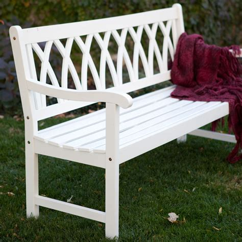 Cunningham 5 ft. Painted Wood Garden Bench   White ...