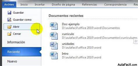 Curso gratis de Word 2010   Menú Archivo Abrir   AulaFacil ...