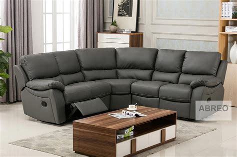 Curved Corner Reclining Sofa 5 Seater Leather or Fabric ...