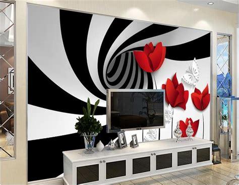 custom 3d photo wallpaper living room mural black white ...