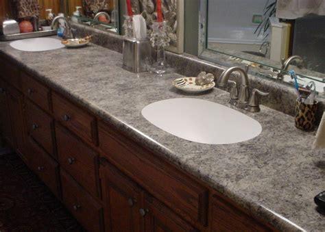 Custom laminate bathroom countertop with undermount sinks ...