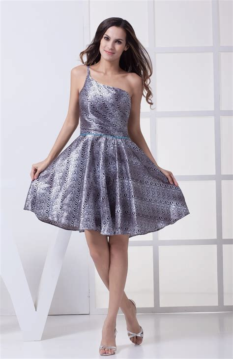 Cute A line Asymmetric Neckline Sleeveless Party Dresses ...