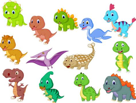 Cute baby dinosaurs collection Vector | Premium Download