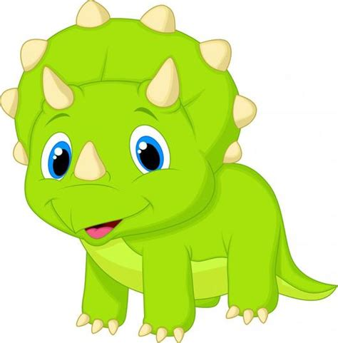 Cute Baby Triceratops Cartoon Wall Decal – WallMonkeys.com