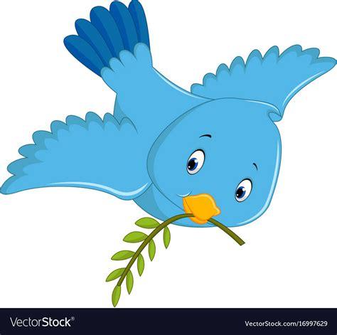 Cute blue bird cartoon Royalty Free Vector Image