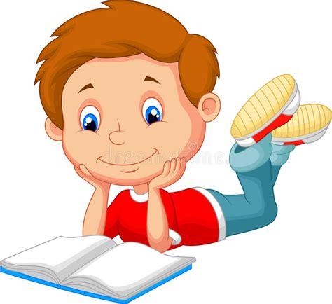 Cute Boy Cartoon Reading Book Stock Vector   Illustration ...