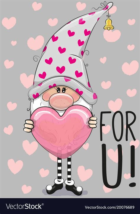 Cute cartoon gnome with heart Royalty Free Vector Image ...