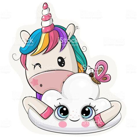 Cute Cartoon Unicorn with cloud on a white background en ...