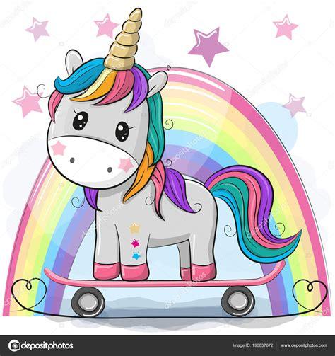 Cute dibujos animados unicornio con patín — Archivo ...