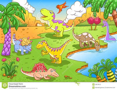 Cute Dinosaurs In Prehistoric Scene Stock Vector ...